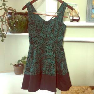Mystic Fit and Flare Green dress W/ velvet Design